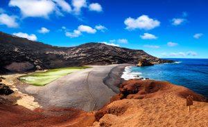 Kanarski trojček -naravni amfiteater zelenega jezera in črne plaže