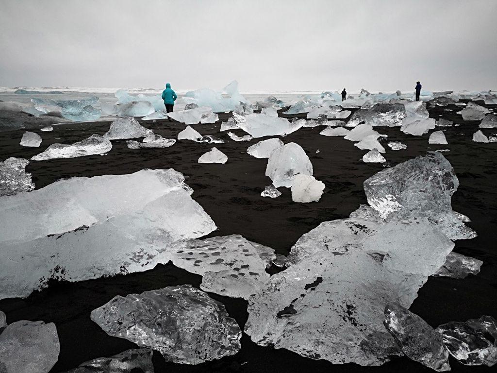 »Diamantna« plaža pri ledeniški laguni Jökulsarlon