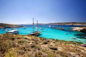 Malta-Comino-Modra laguna