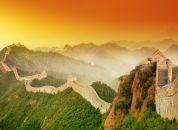 Kitajska-Kitajski zid ob sončnem zahodu