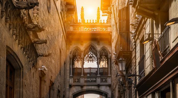 Španija, Barcelona, gotska četrt_329284256