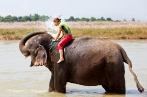 Nepal - Kopanje s slonom