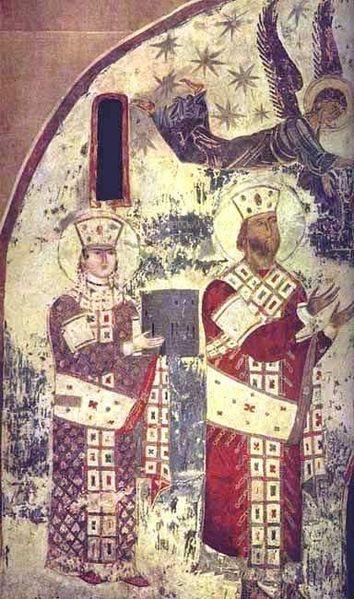 Freska iz cerkve v Vadziji-Tamar in njen oče Giorgi III