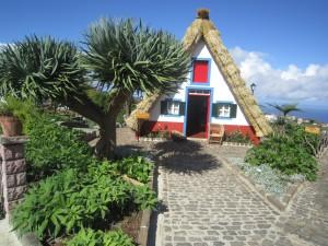 Zasščtni znak Madeire-hiška v Santani. V ospredju je zmajevo drevo.