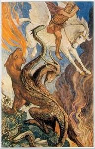 Pogumni Belerophon na krilatem Pegasusu napada neukročeno pošast