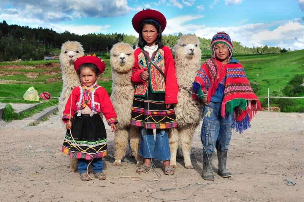 Peru-Cusco-otroci in alpake